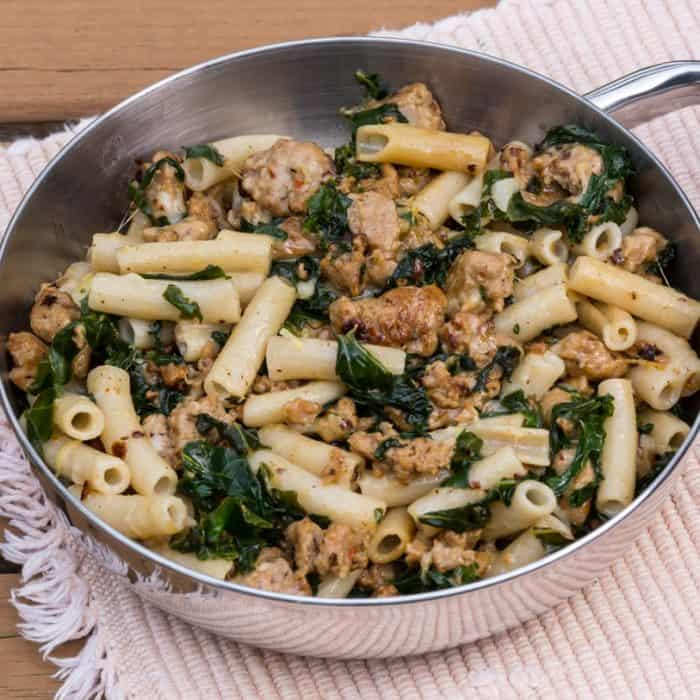 Parmesan Penne with Italian Sausage and Kale